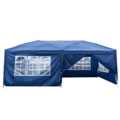 nobrand Ink Stone 3 x 6m Two Windows Practical Waterproof Folding Tent Canopy Tent Blue : Garden & Outdoor