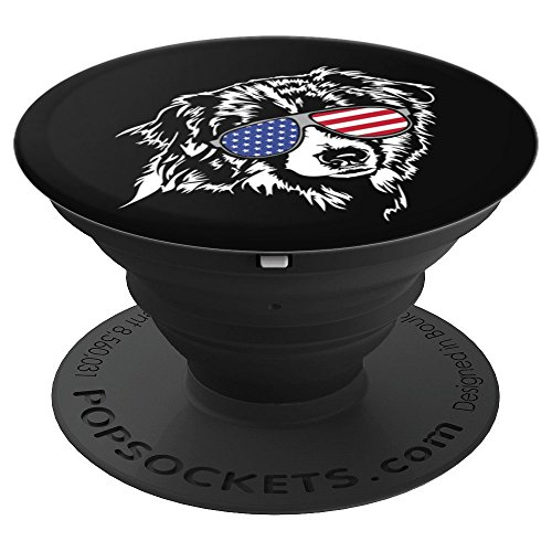 Funny Proud Aussie Australian Shepherd Patriotic dog - PopSockets Grip and Stand for Phones and Tablets