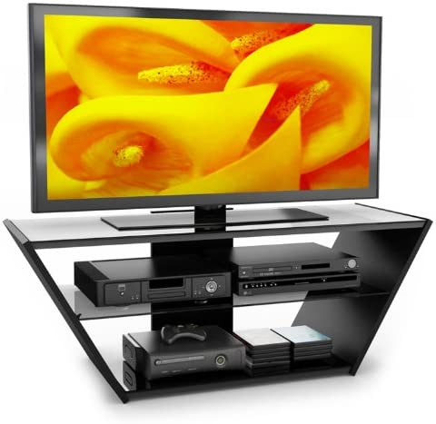 Sonax VN-5540 Venice Midnight Black and Glass TV Stand