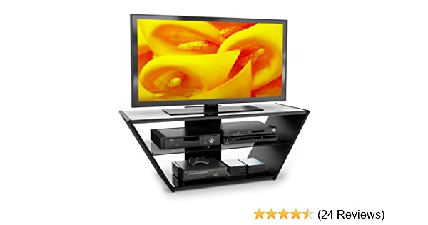 Amazon Com Sonax Vn 5540 Venice Midnight Black And Glass Tv Stand
