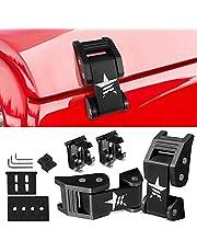 FlyOX Hood Latches Catch Kit Aluminum Alloy Hood Locks for Jeep Wrangler JK JKU 2007-2018 Jeep Wrangler JK JKU,for 2018-2021 JL JLU & 2020 Jeep Gladiator JT Accessories Parts (Black)