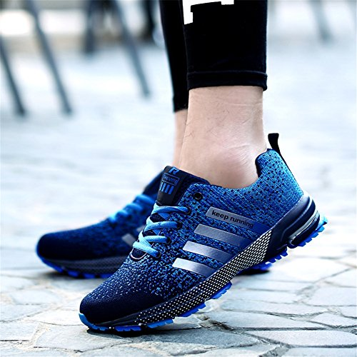 Pictures of KUBUA Mens Running Shoes Trail Fashion Sneakers Tennis Sports Casual Walking Athletic Fitness Indoor and Outdoor Shoes for Men EU 45/11 D(M) US F Blue 1