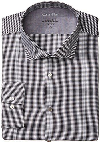 Calvin Klein Men's Xtreme Slim Fit Graphic Check, Jet Black, X-Large/17-17.5 34/5