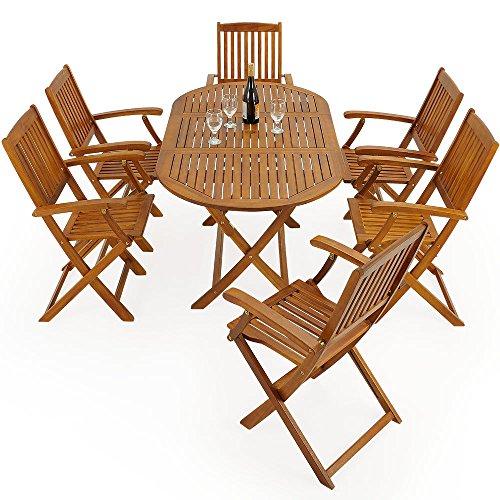 Amazon.de: Gartenmöbel, Boston Set 1 Tisch und 6 Stühle Holz ...