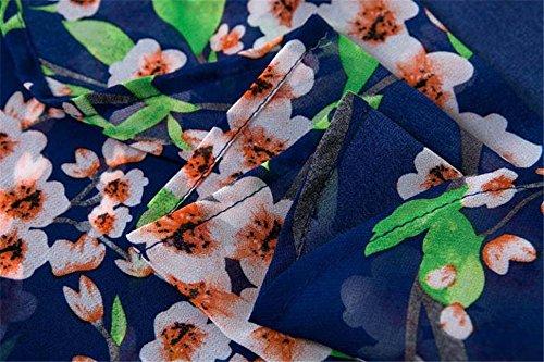 SKY For summer sunscreen, Las mujeres imprimieron la blusa de las tapas de la tapa de la rebeca del kimono de la gasa de la gasa de la mitad impresión de Peach Azul