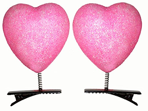 Lucore Heart Head Bopper Hairpins - 10 PC Set Bobble Wobble Valentines Day Hair Clip Decorations (Pink)