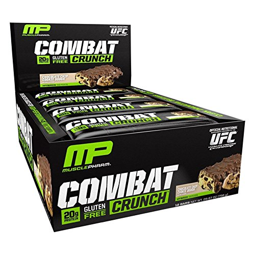 Low Carb Sugar Cookies - MusclePharm Combat Crunch Protein Bar, Multi-Layered Baked Bar, 20g Protein, Low Sugar, Low Carb, Gluten Free, Chocolate Chip Cookie Dough, 12 Bars