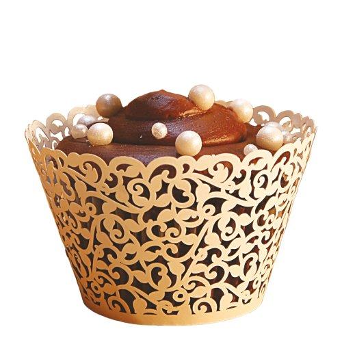 (Ivy Vine Regular Cupcake Wrapper, Ivory, 12 pack )