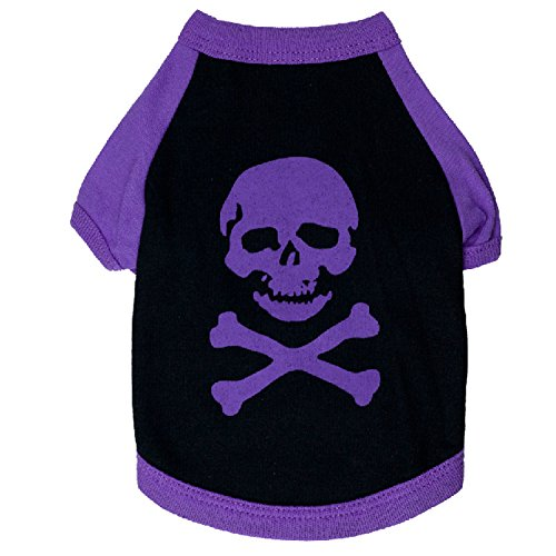 Ollypet Black Purple Skull Skeleton Pet Dog Cat Tee Shirt Clothes Clothing Cotton Halloween Costume Outfit S (Halloween Tee Shirts For Dogs)