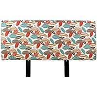 MJL Furniture Designs Alice Collection Floria-Foliage Series Fabric Upholstered Padded Contemporary Styled Bedroom Décor, Queen Size, Coral/Orange/Teal/Brown