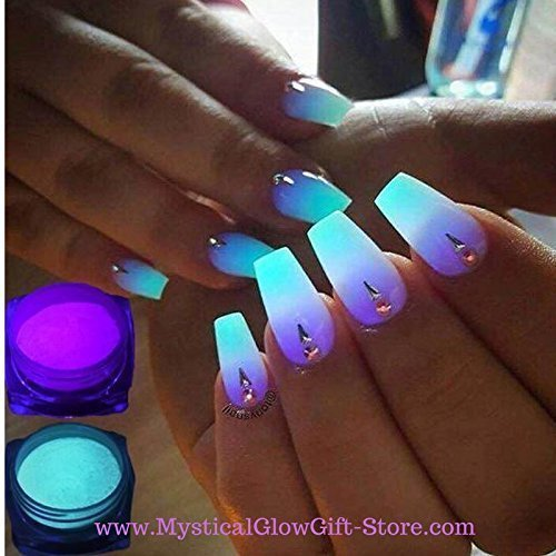Amazon.com: 1 BLUE Neon Phosphor Powder Nail Glitter Powder Dust ...