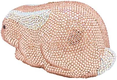 XLJJB Champagne Cristal Femmes Lapin Lapin Soirée Embrayages Sac De Mariée Sac À Main De Noce De Mariage De Bal Minaudière d'embrayage Mini (Longueur Max <20Cm) 1