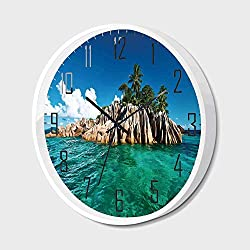 SfeatrutMAT Silent Wall Clock Non Ticking Metal Frame HD Glass Cover,Island,St. Pierre Island at Seychelles Natural Granite Relaxation Mediterranean,for Living Room, Bedroom,Office,14inch