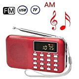 BeiLan Mini Digital AM FM Pocket Radio Portable Speaker Mp3 Music Player Stereo Sound Support TF Card USB Disk with LED Screen Display and Emergency Flashlight Function (Red)