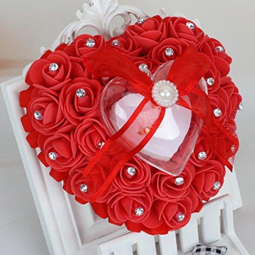 Wrisky Romantic Rose Wedding Favors Heart Shape Rhinestone Gift Ring Box Pillow Cushion (Red)