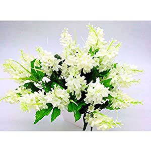 5PCS Artificial Fake Silk and Plastic Hyacinth Flower Wedding Bouquet Favor Bridal Aisle Vase Decor for Party,Home,Bookstore,Cafe Store,Cloth Shop (White) 23