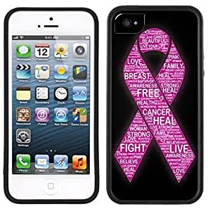 New Style Breast Cancer Pink Ribbon Words Handmade iPhone 5 5S Black Case
