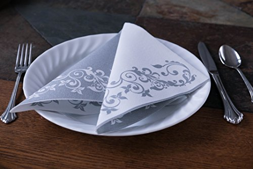 "Simulinen DISPOSABLE Dinner Napkins – DECORATIVE, FANCY, SILVER– Cloth Like Dinner Napkins – Soft, Absorbent & Durable – 16""x16"" – Pack of 50 by Simulinen (Image #3)"