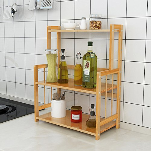 3-Tier Standing Spice Rack LITTLE TREE Kitchen Bathroom Countertop Storage Organizer, Bamboo Spice Jars Bottle Rack Holder with Adjustable Shelf