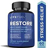 Adrenal Supplement & Cortisol Manager by LyfeFuel - Natural Stress & Anxiety Relief for Calm Enhanced Mood - Ashwagandha, Adaptogenic Herbs, Organic Mushrooms, Milk Thistle (60 Vegan Capsules)