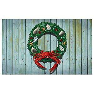 Citizen Pride Holiday Crab Wreath Door Mat by Joe Barsin, 30x18 70