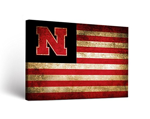 Cornhuskers Nebraska Framed (Victory Tailgate Nebraska Cornhuskers Canvas Wall Art Vintage Flag Design (24x36))