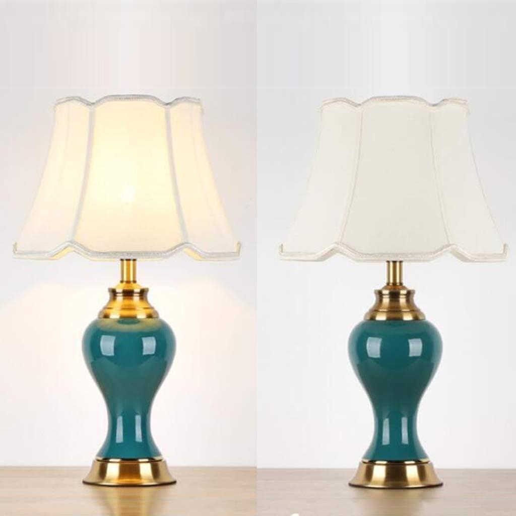 Keramische tafellamp voor binnen, woonkamer, slaapkamer, bedlamp, restaurant, hoteldecoratie, tafellamp, E27, netschakelaar-knop 60 cm, BlueA Greenb