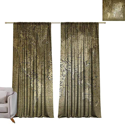 (Thermal Insulated Drapes for Bedroom Antique Old World Map with Great Texture Nostalgic Ancient Plan Atlas Trace of Life World Durable W84 xL96 Army Green)
