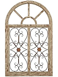 Deco 79 66778 Wooden Gate Style Garden Wall Plaque