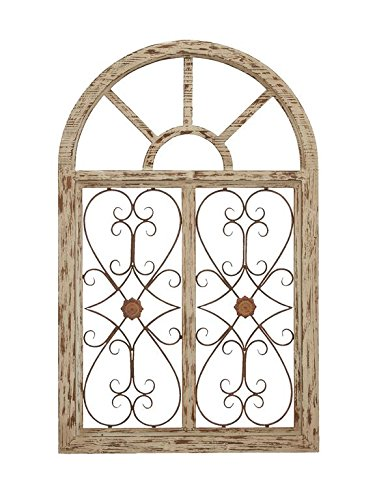 Deco 79 66778 Wooden Gate Style Garden Wall Plaque (Wood Metal Wall Decor)