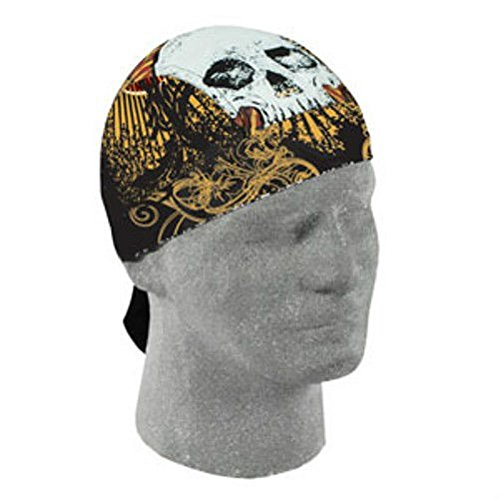Guitar Fret Head Skull Doo Rag Sweatband Tattoo Biker Durag Black by ZIZI SPORTS SUPPLY