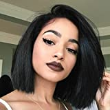 Yaki Straight Short Bob Haircut Front Lace Wig Brazilian Virgin Human Hair Wigs for Women Black Color (10 Inch, Lace Front Wig)