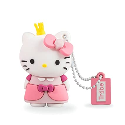 Tribe Hello Kitty Princess - Memoria USB 2.0 de 8 GB Pendrive Flash Drive de Goma con Llavero, Color Rosa