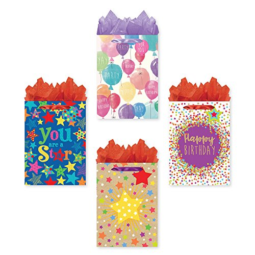 Bundle of 4 Jumbo Sized Party Gift Bags, Birthday Gift Bags with Tags and Tissue ()