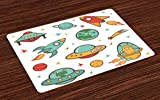 Lunarable Kids Place Mats Set of 4, Outer Space Rocket Space Ship UFO Planets Alien Earth Saturn Galaxy, Washable Fabric Placemats for Dining Room Kitchen Table Decoration, Jade Green Mustard Apricot