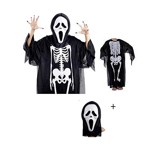 Halloween Ghost Costume Party Adults Clothes Scream Skeleton Ghost Devil Mask ()