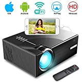 WiFi Projector, iBosi Cheng Wireless Portable Mini LCD Video Projector Full HD 1080P LED Home Theater Projector with 2800Lux,Support 1080P with HDMI USB VGA Ports for Laptop Smartphones-Black