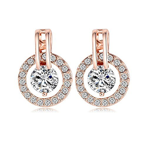 18k Rose Gold Plated Circle Halo Stud Earring with Swarovski Crystal Valentine's Jewelry Gift - 18k Circle Earrings