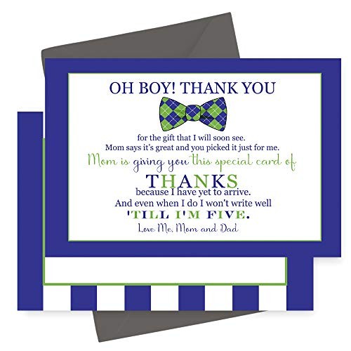 (Bow Tie Thank You Cards for Boys Baby Shower Stationery Set with Envelopes (15 Pack))