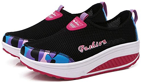 Volwassen Dames Shape Ups Gaas Wandelschoenen Casual Mode Sneakers Zwart