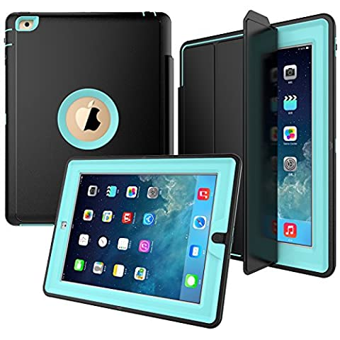 iPad Case, Jollyfit iPad 2 3 4 Heavy Duty Full Body 3-Layer Rugged Hybrid Folio Stand Case with Magnetic Smart Auto Wake / Sleep PU Leather Protective Cover for Apple iPad 2/3/4 (Ipad 4 Folio)