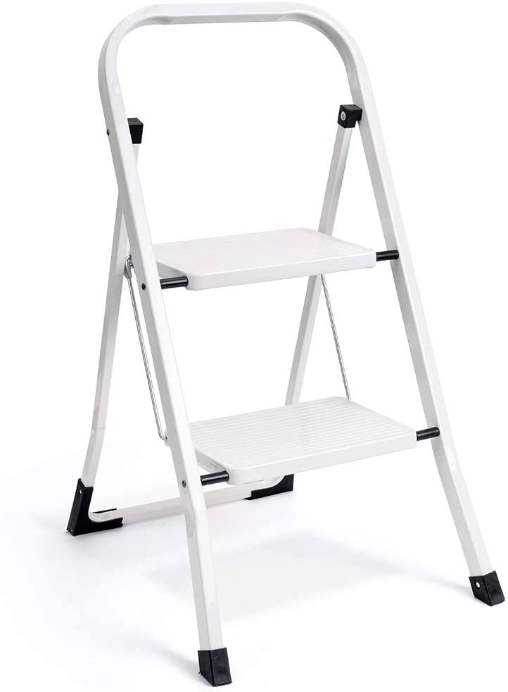 Delxo 2 Step Ladder Folding Step Stool Ladder with Handgrip Anti-Slip Sturdy and Wide Pedal Multi-Use for Household and Office Portable Step Stool Steel 300lbs White (2 feet): Kitchen & Dining