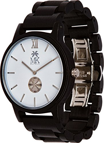 Wooden Watch For Men Maui Kool Kaanapali Collection Ebony Wood Watch White Face Bamboo Gift Box