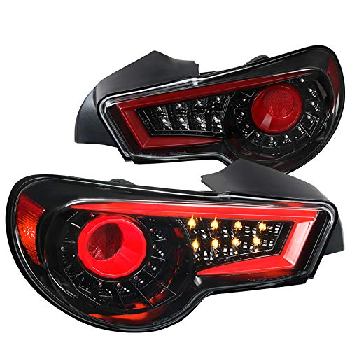 Jet Black For Subaru BRZ Scion FRS Sequential LED Signal Rear Brake Tail Lights