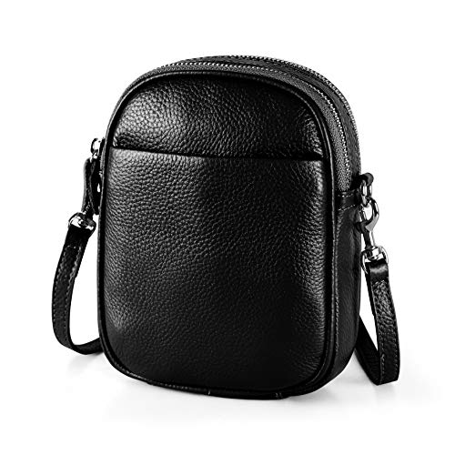 Double Zip Purse - befen Women's Leather Double Zip Mini Crossbody Bag, Small Cell Phone Purse with Shoulder Strap (Black)