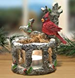 Banberry Designs Cardinal Candle Holder - Red Cardinal Sitting on a Birch Branch with LED Candle - Cardinal Decoration