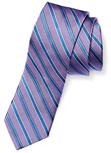 BUTTONED DOWN Men's 100% Silk Tie, Light Purple/blue stripe, - 100% Tie
