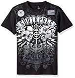 Southpole Boys' Big Short Sleeve Flock All Over Graphic Tee with Logo, Black, Medium