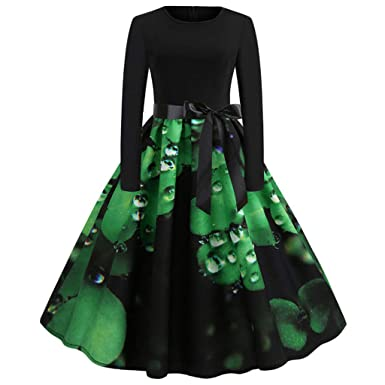 e20e36e129 St Patrick's Day Dress, GreatestPAK Women's 2019 Casual Evening Party Prom  Swing Fashion Long Sleeve