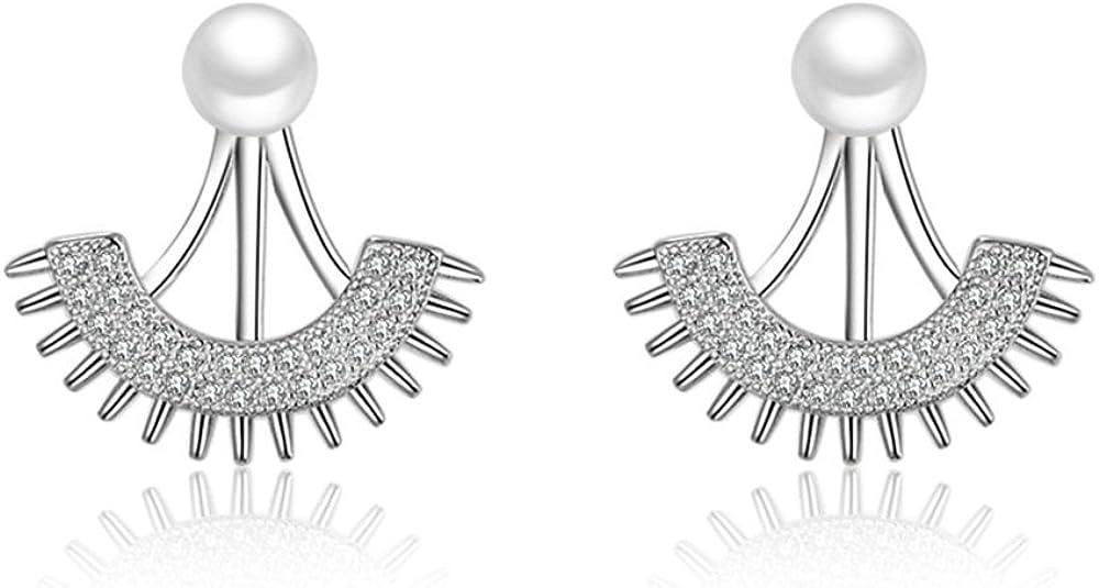 Onefeart Blanco Oro Plateado Pendientes Colgantes Mujer Semi-sector Circonita Perla 21x22MM Plata
